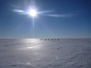 Three skiers on the Ross ice shelf.