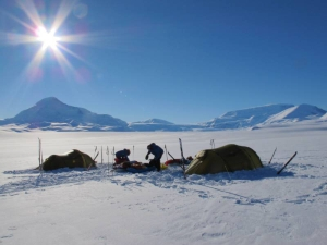 Campsite on the Axel Heiberg Glacier, Antarctica.