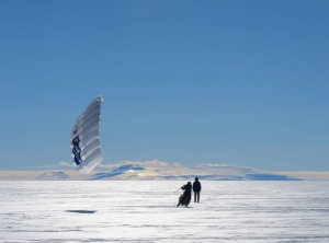 Two skiers with ski sails