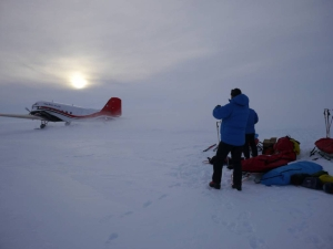 Basler taking off from the Bay of Whales, Antarctica
