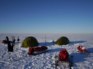 Tent camp on the Ross Ice Shelf in Antarctica