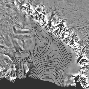 Satellite image of the Ross Ice Shelf, Antarctica
