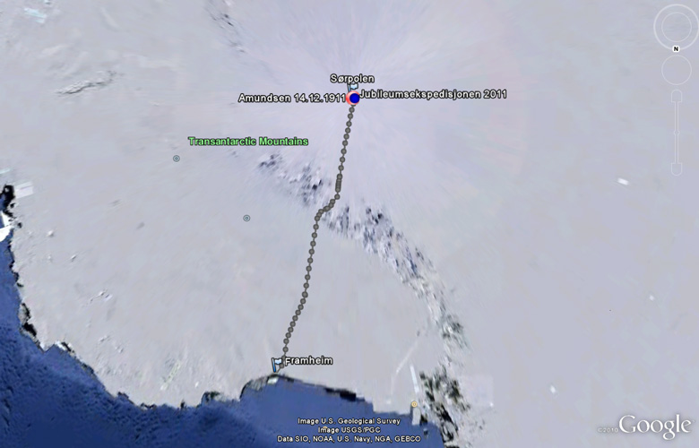 Map of Antarctica with Amundsens expedition route and positions for 14 December