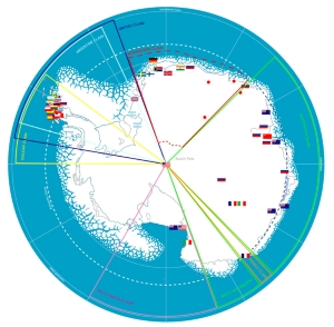 Map showing the territorial claims in Antarctica.