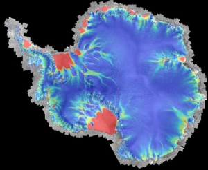 Map showing ice shelves in Antarctica