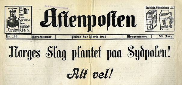 Facsimile of Aftenposten 8 March 1912