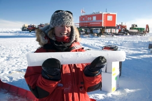 The first ice core that was extracted during the Trans-Antarctic Scientific Traverse Expeditions