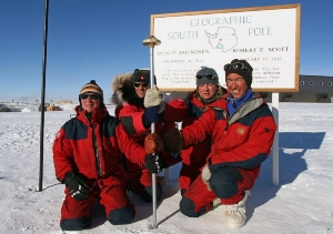 Four polar explorers on the South Pole