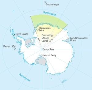 Map of Antarctica with Dronning Maud Land marked