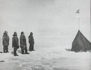 Roald Amundsen by the tent on the South Pole